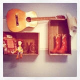 Old wine crates as shelves in baby boy nursery by @Tori Foster Johnson