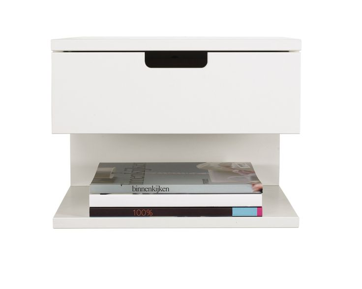 Contemporary White Hardwood Polished Floating Nightstand With Single Drawers And Bookshelves As Modern Bedside Table In Master Bedroom Designs