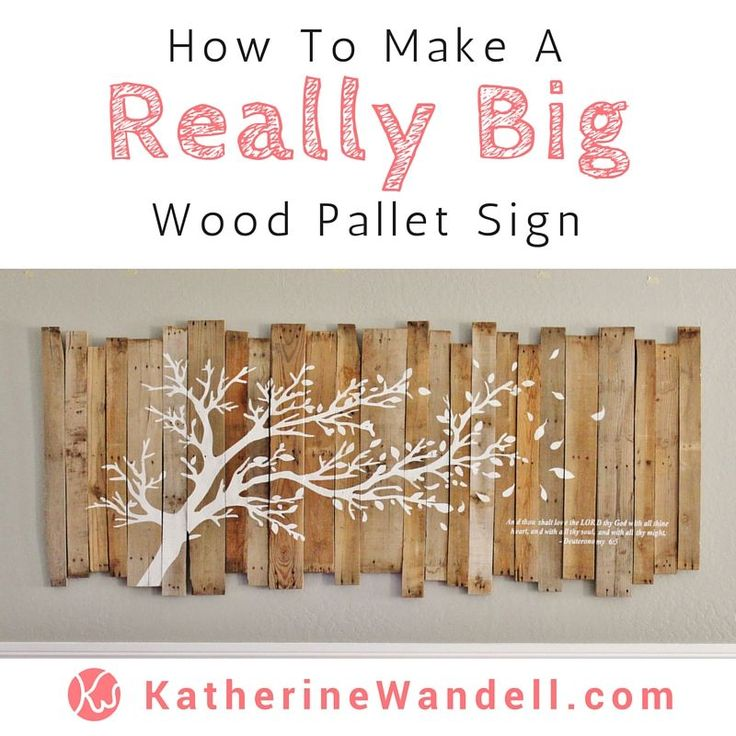 Awesome Tutorial On How To Make A Really Big Pallet Sign! - - - - She has instructions on how to assemble the pallet sign and how she made a HUGE stencil to paint the tree and bible verse on. Whats crazy is she didn't spend a penny on this project!
