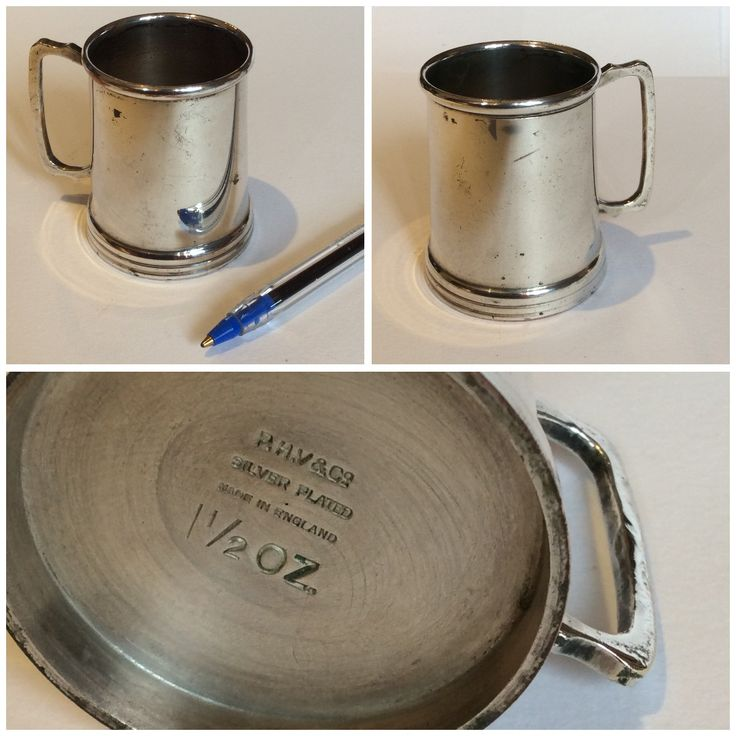 Tiny Silver Plate Measuring Tankard, very sweet and made me smile. Once I polished it up I realised it was Silver Plate.