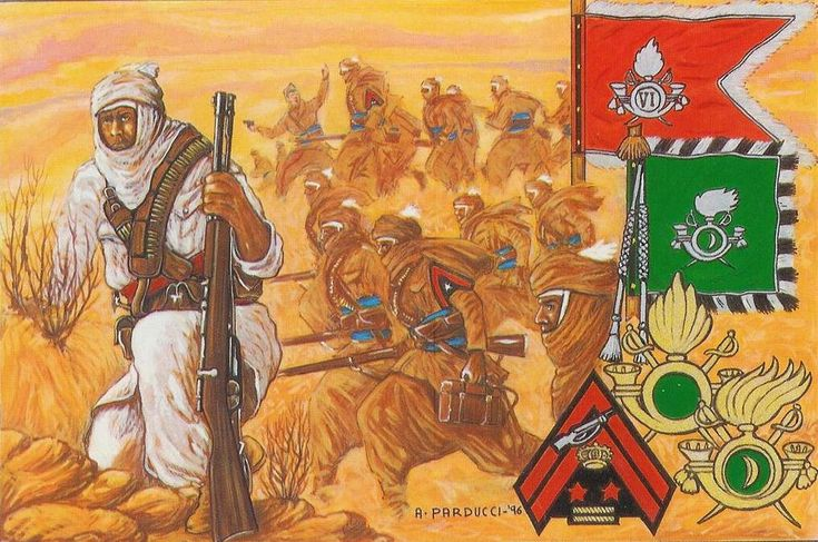 Regio Esercito - Meharisti e Sahariani - I Meharisti ( da mehari, varietà di dromedario veloce) ebbero vita  nel 1912 in Tripolitania con l'apporto di un nucleo di Meharisti Eritrei, rappresentarono la fanteria montata indigena con capacità operative nelle più lontane zone desertiche e costituirono l'ossatura dei Gruppi Sahariani che ebbero peso decisivo nella pacificazione della Libia.  Nella II GM condivisero la sorte delle armi italiane fino alla caduta della Tripolitania