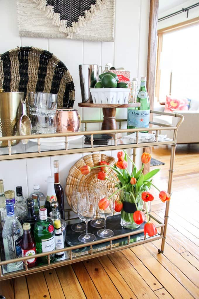 How to Style a Modern Bar Cart, Tips for Styling a Bar Cart, How to setup a modern bar cart, How to stage a bar cart, Mid Century Bar Cart, Bar Cart Tips