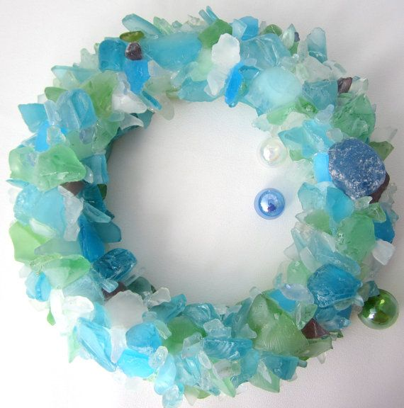 Beach decor coastal sea glass wreath. Nautical decor beach glass wreath in custom colors, $115, BUY HERE: https://www.etsy.com/listing/172871701/beach-decor-sea-glass-wreath-nautical?ref=shop_home_active_5