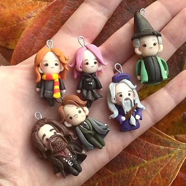Harry Potter characters! Ginny, Tonks, McGranitt, Dumbedore, Remus Lupin and Hagrid in fimo