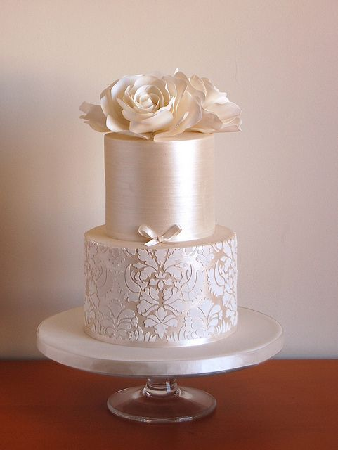 Rose Wedding Cake by bakingarts, San Francisco, California