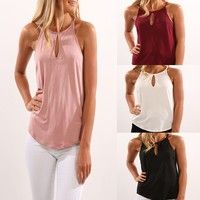 Wish | Women Sexy Hollow-out Chiffon Sleeveless Bretelle T-shirts Pure Color Fashion Ladies Casual Tops