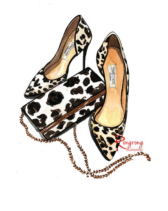 Leopard print art, Girly wall art, Fashion illustration, Fashion wall art…