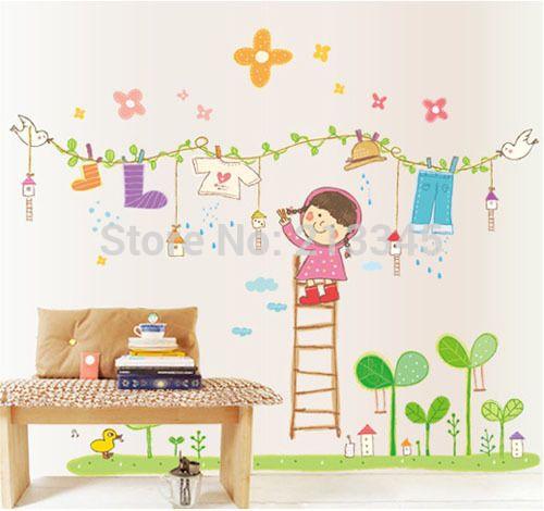 [ Субботу монополия ] мультфильм дети стены наклейки детская классе детская домашнего декора наклейки сухую одежду маленькая девочка 6753 купить на AliExpress