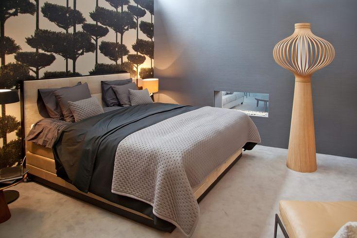Slaapkamer met accentmuur in behang
