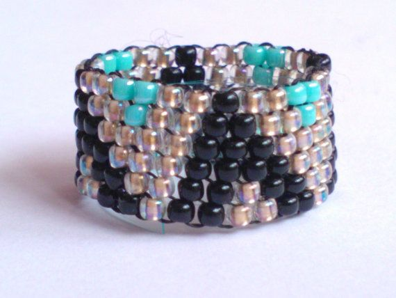 Gold lined Black Turquoise Toho Bead Ring
