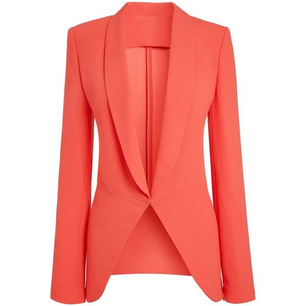 Coral Jacket ($150) ❤ liked on Polyvore featuring outerwear, jackets, blazers, coats, coats & jackets, red jacket, coral jacket и leather jacket