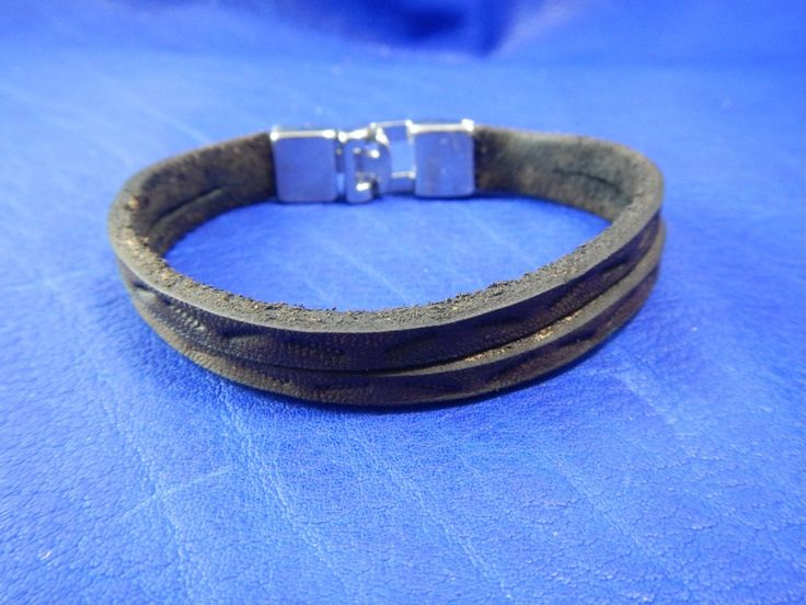 Thin leather bracelet Two strips, Браслет из кожи с металлическим замком Две полоски by RozaBracelets on Etsy