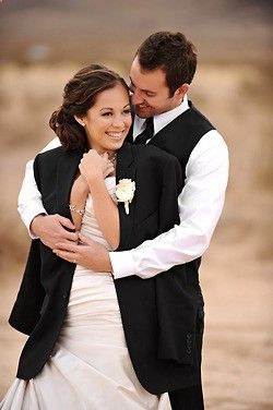 Take a picture in your grooms jacket... One of the best ideas for wedding pictures!