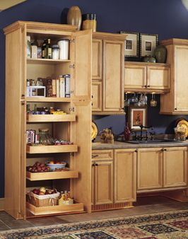 Full extension pull out shelves in pantry.