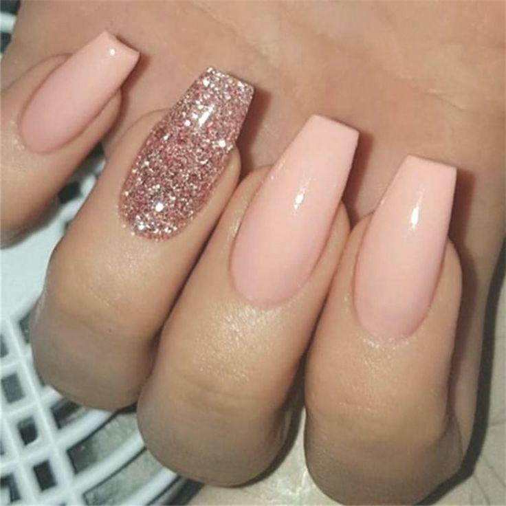 Rose Gold Nails Sns 600pcs Bag Ballerina Nail Art Tips Transparent Natural False Ombre Acrylic Nails Gold Nails Coffin Nails Designs