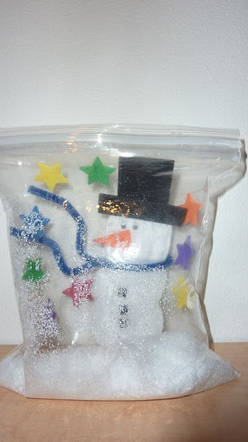 Frosty the Snowbag, like a snow globe but with air in a baggie instead of water. via http://www.facebook.com/handsonaswegrow
