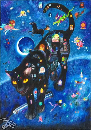 Černý panter noci od Marie Brozove.   Black pather of the night drawn by pencils