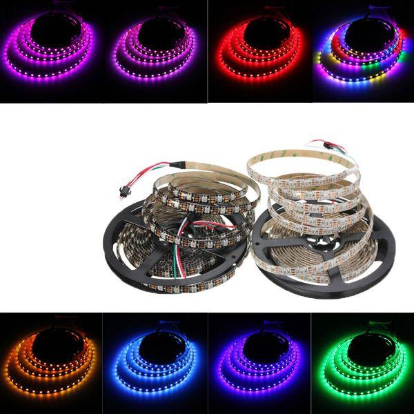 5m 90w 300smd Ws2812b Led Rgb Colorful Strip Light Waterproof Ip65 White Black Pcb Dc5v With Images Strip Lighting Led Strip Lighting Led