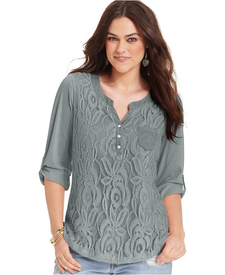 Belle Du Jour Plus Size Top, Lace Front Henley - Plus Size Tops - Plus Sizes - Macys