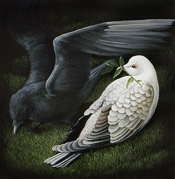 This picture displays the references to ravens and doves in the novel. Celia often worked with these birds, and there were many other references to them. Ravens are dark and more on the eerie side, while doves represent purity and peace. This birds show different aspects of the book, pure and evil.