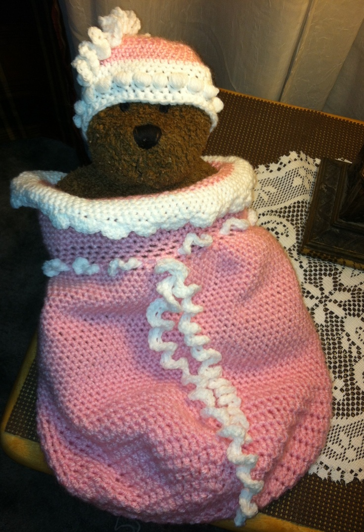 Cottage snuggle sack and hat crochet baby baby cocoon and sacks - Crochet Baby Cocoon