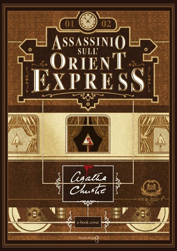 Copertina e-book Assassinio sull'Orient Express di Agatha Christie, versione seppia; concept, graphic design ed illustrazione di Davide Corsetti per Stregattodesign Milano