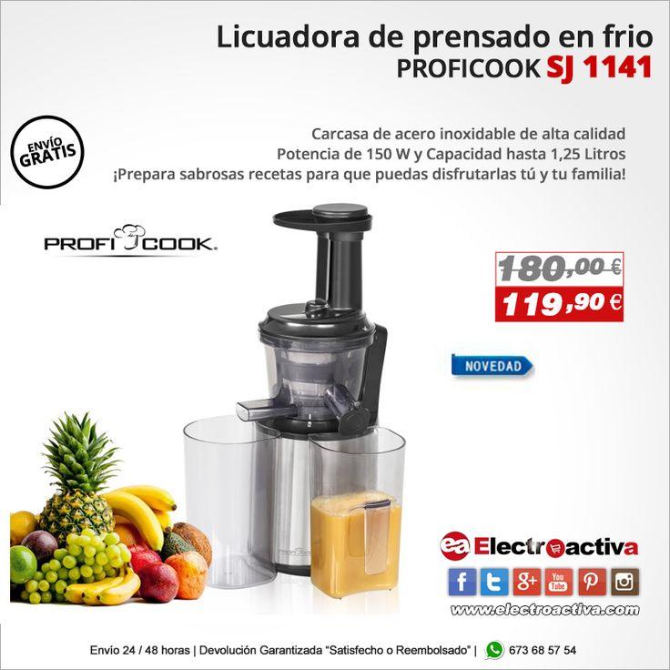 ¡Apuesta por por la calidad y la salud en tus zumos! Licuadora de Prensado en Frio https://www.electroactiva.com/proficook-sj-1141-licuadora-prensado-frio-frutas-verduras.html  #Elmejorprecio #Licuadora #Desayuno #Chollo #Electrodomestico #PymesUnidas