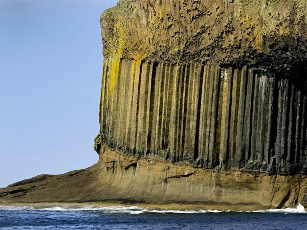 Columnar jointing, near Fingal's Cave form the base of the Scottish island of Staffa