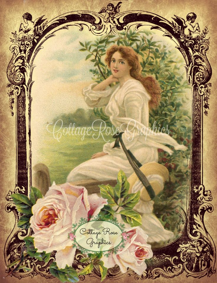Vintage farmhouse Prairie Girl pink Roses by CottageRoseGraphics