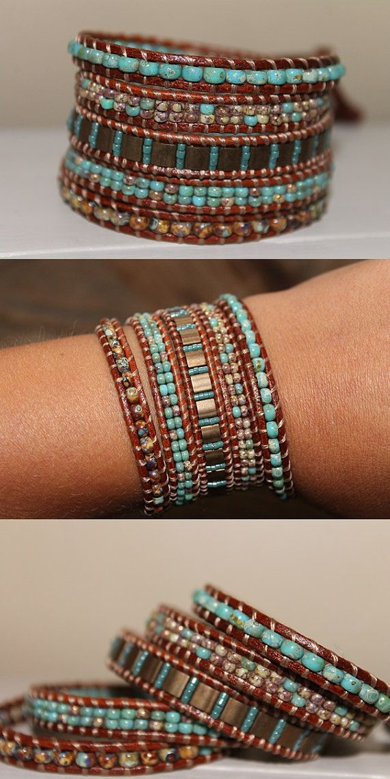 Leather beaded Wrap bracelet Glass beads par homemadewithpleasure