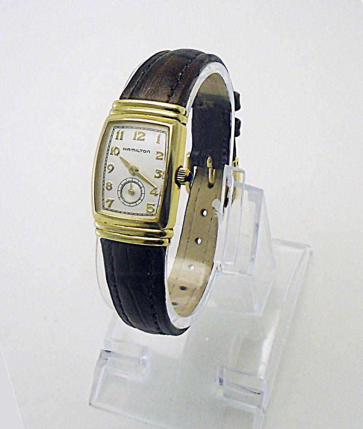 Hamilton Woman's Registered Edition Art Deco Wristwatch 18K GP Dark Brown Band in Jewelry & Watches, Watches, Parts & Accessories, Wristwatches | eBay