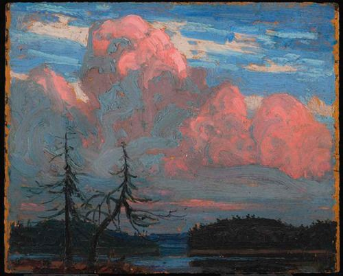 Tom Thomson (Canadian, 1877-1917), Algonquin Sunset, 1914. Oil on composite wood-pulp board. Art Gallery of Ontario, Toronto.