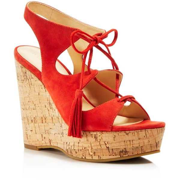 Ivanka Trump Zenia Lace Up Wedge Sandals ($140) ❤ liked on Polyvore featuring shoes, sandals, medium red, lace up shoes, cork wedge shoes, ivanka trump sandals, retro sandals and wedges shoes