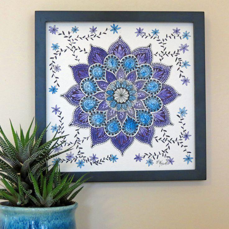Original Watercolor Pen and Ink Mandala - Framed Wall Art - Twilight Mystery - Unique Watercolor Mandala - Sacred Geometry - Flower Mandala by CreateThriveGrow on Etsy