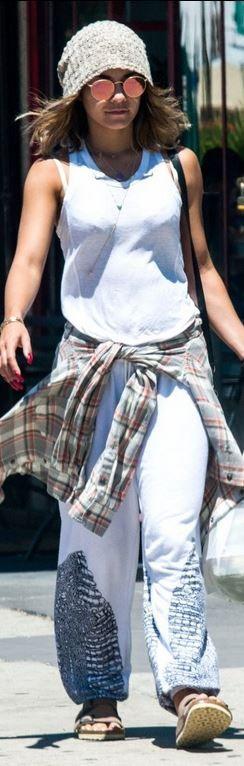 Who made Vanessa Hudgens' white print pants, tan flat ...