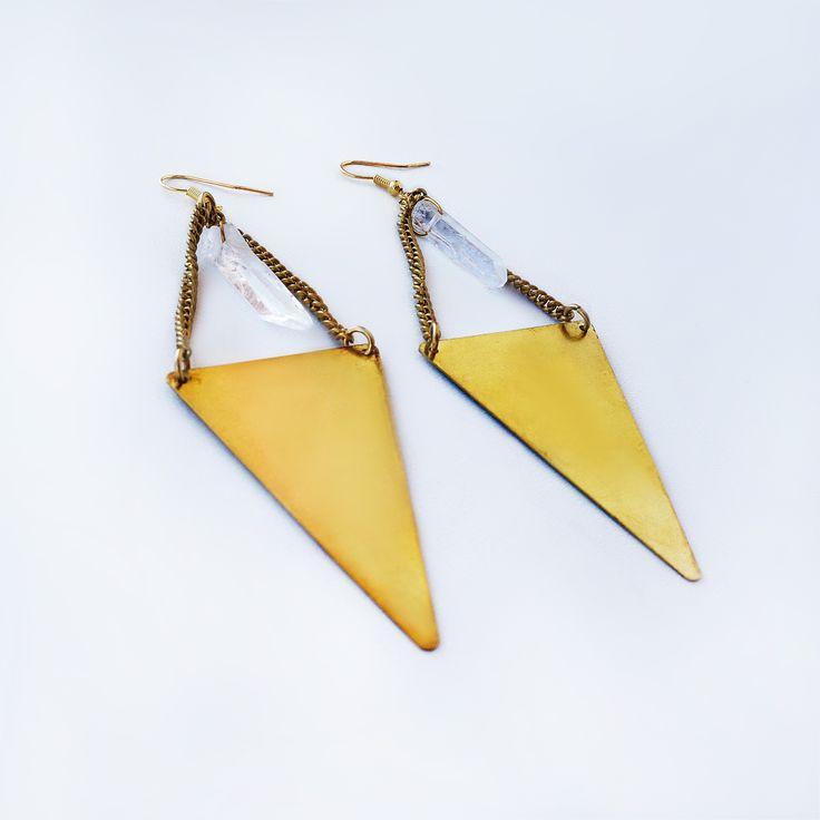 celestial earings, raw brass triangle, white quartz crystals https://www.facebook.com/jewelrylycidas