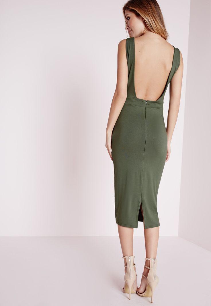 Missguided - Robe mi-longue en jersey vert kaki dos échancré