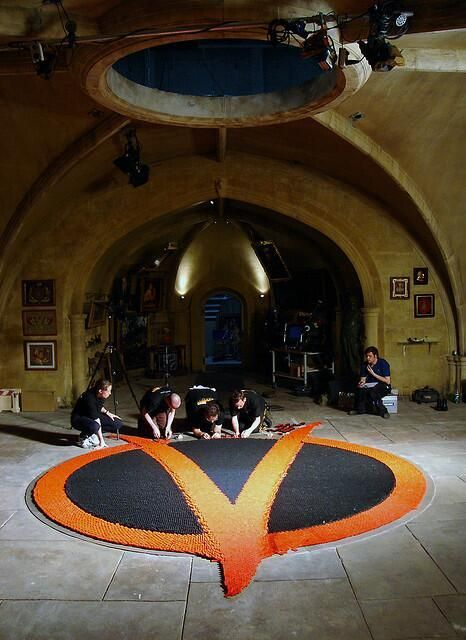 The domino scene from V for Vendetta - It's 22000 dominoes, took 4 professionals 200 hours to set up. - Imgur