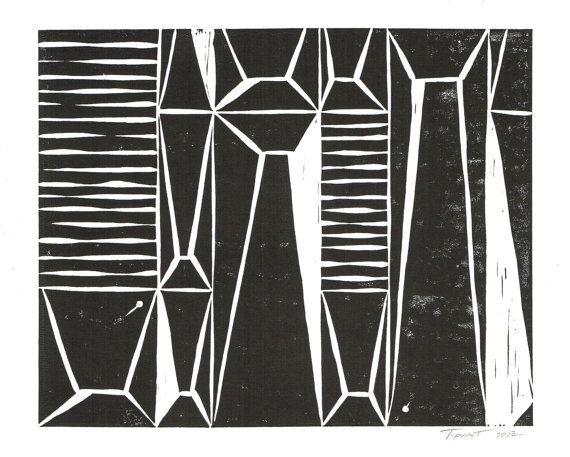 Modern Abstract Linocut / 8 X 10 Wall Art
