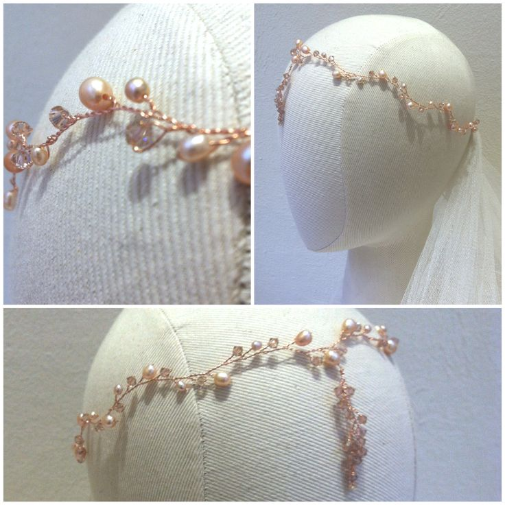 Hermione Harbutt bespoke Pink pearl hairvine with droplet. Kindly click here to find out more about our bespoke designs: https://www.hermioneharbutt.com/bespoke.php
