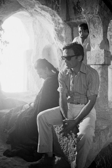Maria Callas and Pasolini on the set of Medea (1969)