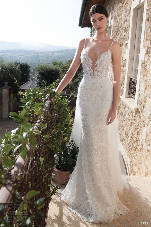 berta bridal 2015 lace sheath wedding dress sexy plunging deep v neckline embellished straps: