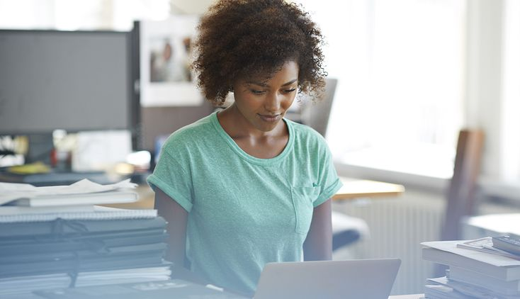 African-American Woman on Laptop, LinkedIn Profile Tips, Job Search