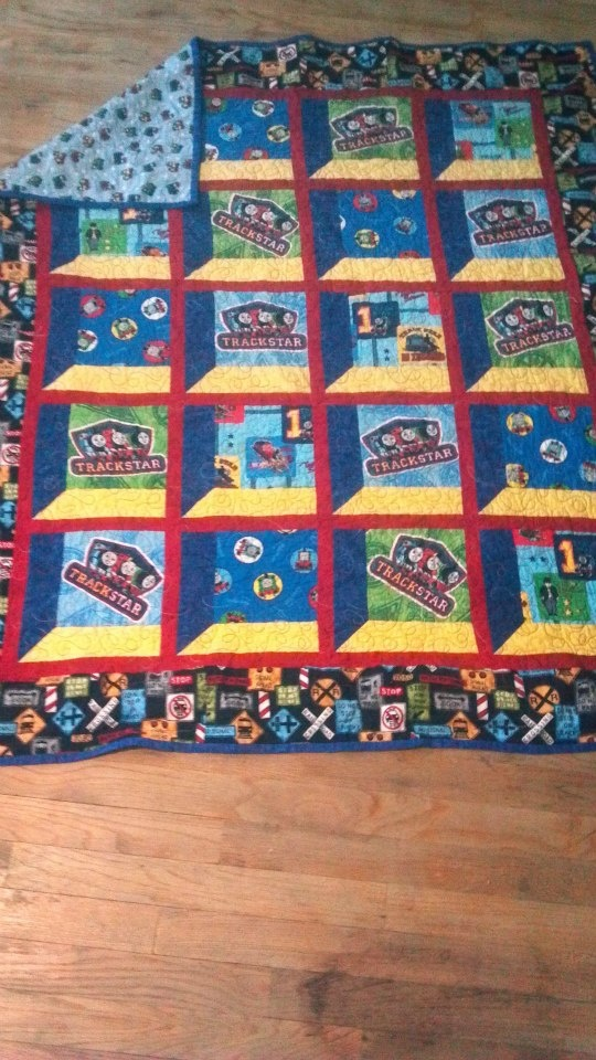 Feizy Rugs Thomas the Train quilt made for my grandson Avery