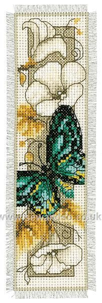 Green Butterfly on Flowers Bookmark