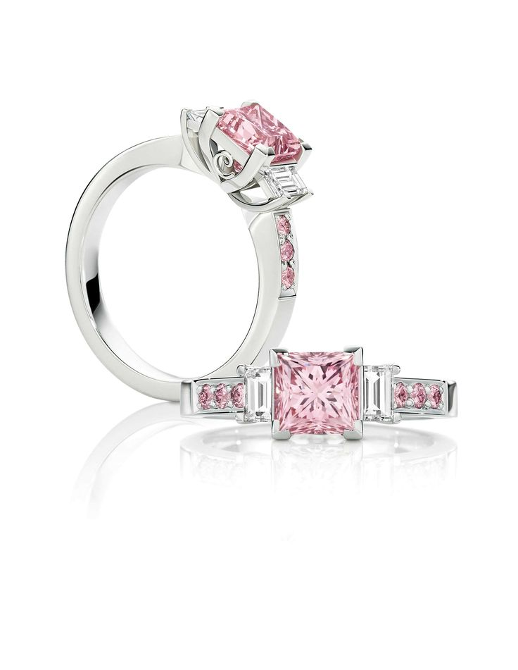 The Pink Princess. A stunning 1.52 ct Australian Argyle pink diamond ring with white baguettes on the sides and matching pink diamonds down the setting. www.calleija.com