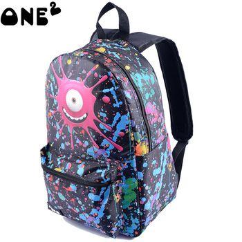 ONE2 emoji design printed 3d school bag for university students backpack