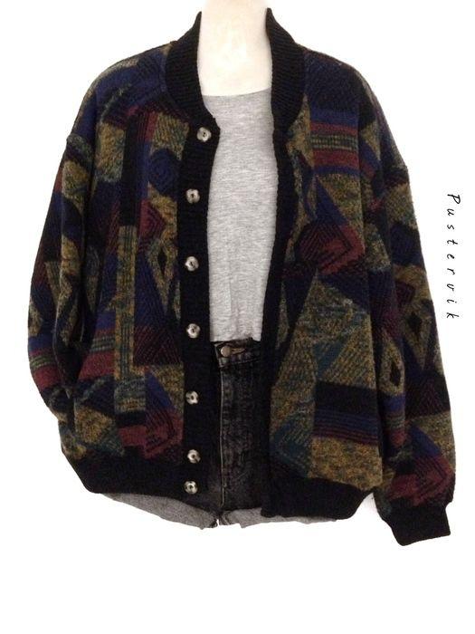 Mein True Vintage 80er Strick Blouson Winter Jacke Knit Wear Casual Oversized Az… – Vintagelove by pustervik
