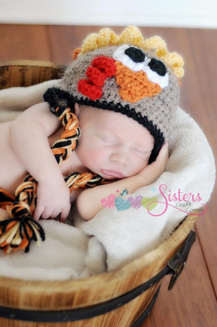 Crochet Thanksgiving Turkey hat with earflaps -Fall holiday hat - baby turkey hat - photography prop - Unisex Baby Gift - Baby Boy - Girl