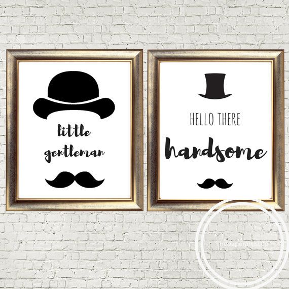 little gentleman, hello handsome, hipster nursery, monochrome nursery, modern nursery, kids room, digital print, boys nursery, baby gift